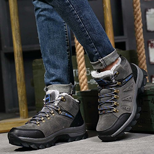 JIMIHUA Stivali da Neve Uomo Plus Stivali Impermeabili Escursionismo Scarpe da Arrampicata Grigio