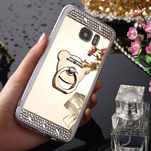 Cover Samsung Galaxy S6 Edge,Custodia Samsung Galaxy S6 Edge,KunyFond Crystal Clear Protettiva Case Custodia 360 Gradi di Protezione Completa Morbida Gel Custodia Silicone Tpu Copertura Trasparente Ma oro Orso