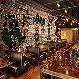 Rureng Fototapete Benutzerdefinierte Hip Hop Straße Graffiti Nostalgischen Ziegel Wand Essen Ktv Hintergrund Tapete Restaurant Bar Benutzerdefinierte Wandgemälde-400X280Cm