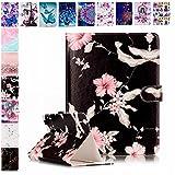 E-Mandala Universal 7 Zoll Hülle Etui Flip Case Leder Wallet Cover Tablet PC Tasche mit Kartenfach Klapphülle Ledertasche Lederhülle - Blume Schwarz