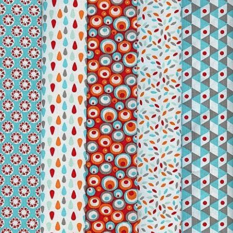 Textiles français Stoffpak bundle de telas - 5 telas: turquesa y rojo con azul agua, naranja, gris pardo y blanco - colección de telas 'soñar con colores' | 100% algodón | 50 cm x 40 cm