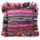 "Eyes of India - 12"" Lila Chindi Trapo Alfombra Almohadón Cojín Manta Decorativa Cobertor Indio Boho bohemio - lila #82"