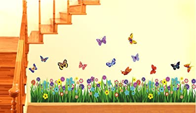 Decals Design 'Walking in the Garden Flower' Wall Sticker (PVC Vinyl, 50 cm x 70 cm)