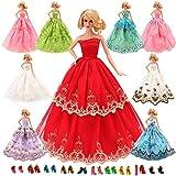Miunana 15 Pezzi = 5 Pcs Moda Premium Fatto a Mano Morbido Matrimonio Abiti Vestiti Con Pizzo Incompleto + 10 PCS Scarpe Per La Festa Per Barbie Dolls Bambola Per Regalo