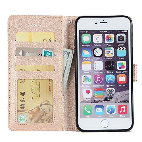 EKINHUI Case Cover Classic Premiu PU Ledertasche, Horizontale Flip Stand Case Cover mit Cash & Card Slots & Lanyard & Soft TPU Interio Rückseite für iPhone 6 Plus & 6s Plus ( Color : Gold ) Gold