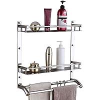 Plantex Stainless Steel Multipurpose 3 Tier Bathroom Shelf/Storage Rack/Towel Rod/Bathroom Accessories (Silver)