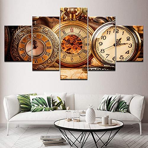 OHHCO Leinwand, Drucke auf Leinwand, Wandkunst, Modern, Wohnzimmer Schlafzimmer Hauptdekorationen Büro Vintage Taschenuhr