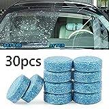 Lot de 30pastilles effervescentes Spray nettoyant pour vitres de voitures Nettoyage massif d'essuie-glace Outil de nettoyage