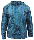 SHOPOHOLIC FASHION Herren Stonewashed Gestreift Mit kapuze Hippy Großvater Shirt - Türkis, Large