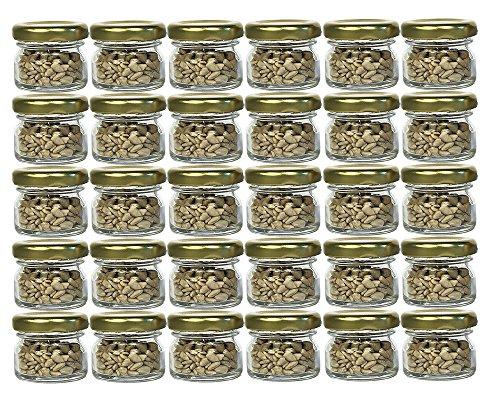 30 Ml Glas (30er Set Sturzgläser Mini Gläser | Füllmenge 30 ml | Deckelfarbe Gold | To 43 Rundgläser Marmeladengläser Obstgläser Einweckgläser Honig Gläser Einmachgläser Portionsgläser Probiergläser Imker)