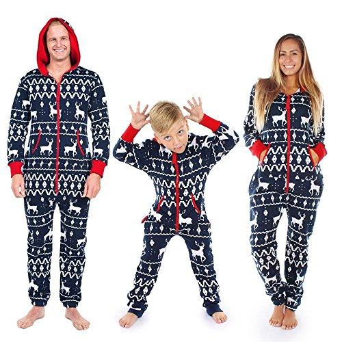 suit Pajamas (Men's / Women's / Baby Hoodie Romper Outfit) Upxiang Christmas Elk Printed Pajamas Clothing Set (Marine/Männer, XXXXL) (Toy Story Familie Kostüme)
