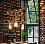 Retro kreative Persönlichkeit Rad Restaurant Hotel Café Seil Kronleuchter,LED-Glühbirne,3 Köpfe DEN
