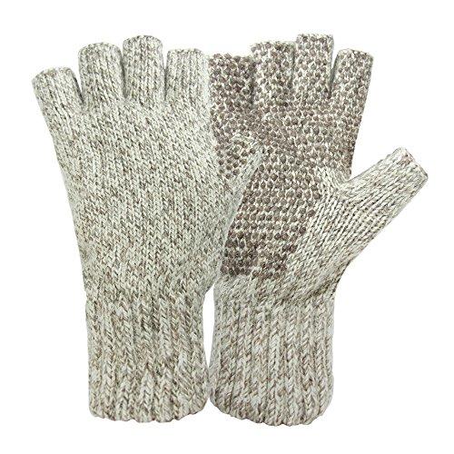 Hot Shot Herren Ragg Wolle Fingerlose Handschuh, Herren, hellbeige