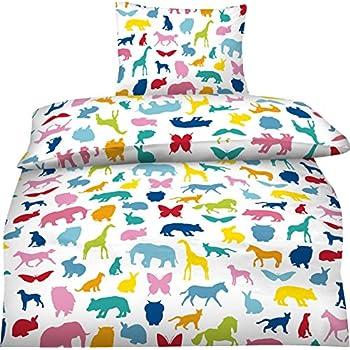 Aminata kids Kinder-Bettwäsche-Set 135-x-200 cm Zoo-Tiere