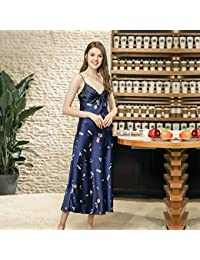 Spring New Simulation Silk Nightdress Ladies Strap Largo Servicio A Domicilio,Blue(XL)