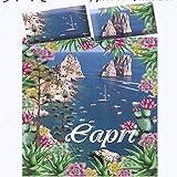 Lenzuola Matrimoniale Lenzuolo Copriletto Stampa Digitale Capri Puro Cotone