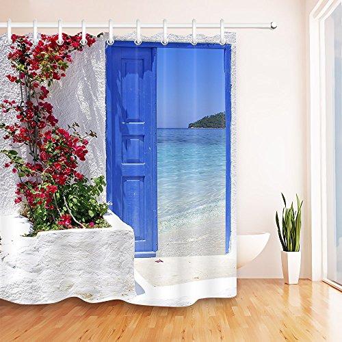 LB Traditionelle Griechische Tür mit Einer großartigen Ansicht über Santorini Insel Polyestergewebe Wasserdicht Badezimmer Dekor Duschvorhang Set mit 12 Haken,180x200cm