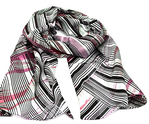 Striessnig Wien – Damen Schaltuch schwarz, Schal mit Streifen Muster, modisch aktuelles Halstuch, ca. 36 x 160 cm (Diagonal-streifen-schal)