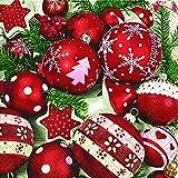 Serviette Weihnachten Christbaumkugeln rot weiß mit Setita® Menükarte