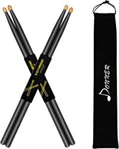 Donner 5A - Coppia di bacchette per batteria in legno d'acero con custodia, colore nero