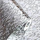 LYX1,Papel Pintado Tapiz Oro y Plata Pequeño Mosaico KTV Bar Techo Techo Color Brillante Lámina de Oro Papel Tapiz (Color : La Plata)