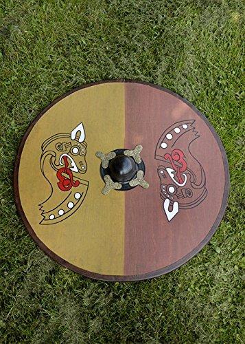 Battle-Merchant Wikinger Rundschild, aus Holz, mit nordischem Pferdemotiv - Schild - Wikingerschild - Holz-rundschild