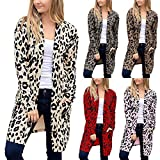 Frauen Langarm Leopardenmuster Tasche Mode Mantel Bluse T-Shirt Cardigan Top