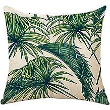 outflower hojas tropicales plantas flores y pájaros funda de cojín impresos/dormitorio/salón/oficina/coche/Sofá 45* 45cm a