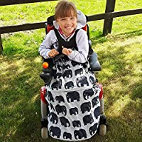 BundleBean Childs Wheelchair Rain Cover/Cosy / Special Needs Buggy Cosy - waterproof, fleece, universal fit GREY ELEPHANTS
