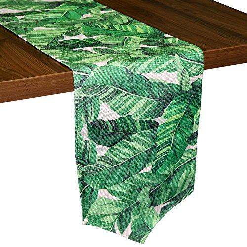 Aytai Baumwolle Leinen Tischläufer 30,5x 215,9cm grün Banana Leaves Tischläufer für Home Tisch Dekoration, Hawaiian tropischen Dschungel Thema Party Party Supplies