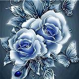 Riou DIY 5D Diamant Painting Voll ,Stickerei Malerei Diamant Retro BlumenCrystal Strass Stickerei Bilder Kunst Handwerk für Home Wall Decor Gemälde Kreuzstich (Blau, 25 * 25cm)