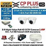 Cp Plus CCTV Full HD CP-UVR-0401E1S 4CH DVR 01 Pcs + Cp plus Full HD 2.4mp Dome IR CCTV Camera 2Pcs +1TB HDD + 4-CH Power Supply 1 Pcs + BNC & DC Connectors & 3+1wire roll 1-pc
