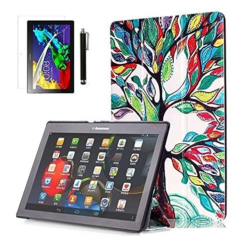 Lenovo Tab 2 A10-70 Cover Case,PU Leder Tasche Smart Cover Case für Lenovo Tab 2 A10-70 / A10-70F / A10-30F (10,1 Zoll) Hülle Schutzhülle Schale Etui Ledertasche mit Standfunktion + Displayschutzfolien und Stylus (Bunte