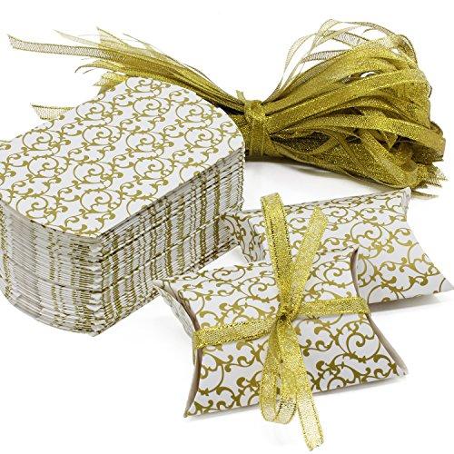 HSeaMall Kraft Papier Candy, Geschenk-Box Kissen Box für Hochzeit Geburtstag Party 50 - Gold Box 50PCS