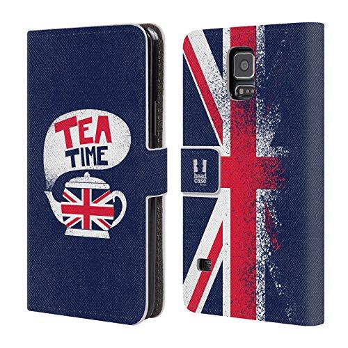 Head Case Designs Tea Time Das Beste Von London Leder Brieftaschen Huelle kompatibel mit Samsung Galaxy S5 / S5 Neo (Galaxy London Samsung S5 Case)