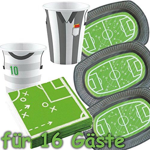 51-teiliges Party-Set * FUSSBALL-STADION * für WM 2018-Party oder Kindergeburtstag // mit 12 Teller + 16...