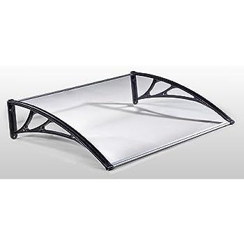 amzdeal auvent de porte avant toit marquise pour porte d 39 entr e semi transparent 120 75cm noir. Black Bedroom Furniture Sets. Home Design Ideas