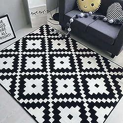ZI LING SHOP- Alfombra nórdica rayas en blanco y negro Simple moderna puerta cojín Sala de estar mesa de café Sofá alfombra rug ( Color : A , Tamaño : 80x185cm )