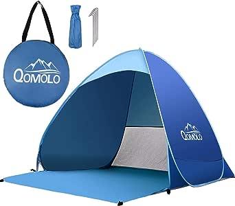 Qomolo Tenda da Spiaggia Pop-up Tenda Portatile Solare Extra Leggera Protezione UV 50+ Tenda da Spiaggia Portatile per 1-3 Persone