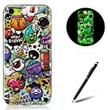 Feeltech for Apple iPhone 5C TPU Case Coque Housse Luminous Noctilucent Green Glow Soft Rubber Bumper Protective Cover Skin Shell Stylish Unique Colourful Pattern Peinture Graffiti