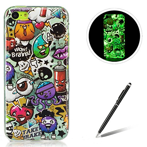 iPhone 5C TPU Case Coque iPhone 5C Gel Housse Feeltech [Gratuit Stylet Pen] Luminous Effect Noctilucent Green Glow in the Dark Matte White Ultra Slim Soft Rubber Shock Absorber Flexible Bumper Protective Cover Skin Shell pour Apple Apple iPhone 5C with Stylish Unique Colourful Printed Pattern Design - Peinture Graffiti