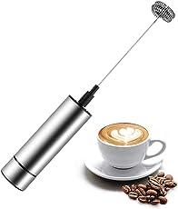 Elektrischer Milchaufschäumer,mit Doppeltem Quirl Edelstahl Metall Milk Frother Milchschaum für Kaffee/Latte/Cappuccino,leichte Reinigung,Batteriebetriebe,Extra starker Motor mit 19,000 U/min