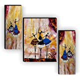 SAF Set of 3 Dancing African Ladies Modern Art UV Textured Home Decorative Gift Item MDF Painting 12 Inch X 18 Inch SAF-JMS65