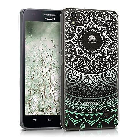 kwmobile Étui transparent en TPU silicone pour Huawei Ascend G620s en menthe blanc transparent Design soleil indien