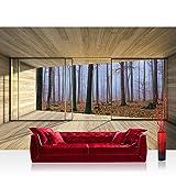 Fototapete 368x254 cm PREMIUM Wand Foto Tapete Wand Bild Papiertapete - Holz Tapete Holzoptik Rahmen Fenster Wald Bäume Nebel beige - no. 3029