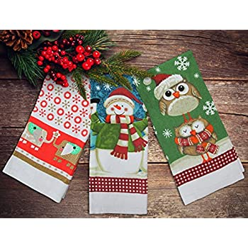 festive set of 3 new xmas tea towel christmas kitchen towels snowman - Kitchen Towels New Design
