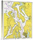 """Global Gallery GCS-450528-30-142 """"Noaa Historical Map & Chart Collection Nautical Chart - Admiralty Inlet And Puget Sound To Seattle Ca. 1975"""" Gallery Wrap Giclee on Canvas Wall Art Print"""