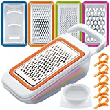 Obst Gemüse Schneidemaschinen Set mit Orangen Peelern, FineGood 4 Packs MultifunktionsSpiralizer Dicer Cutter Chopper Reibe mit Container für Küche, mit 5 Citrus Skin Removers
