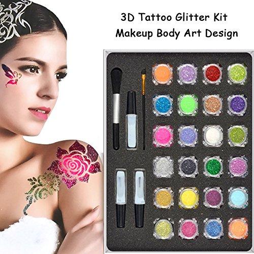 24 colores temporal brillo en polvo cuerpo del arte del tatuaje conjunto de pintura Fancy mujeres cuerpo arte diseño DIY plantilla de la henna + cepillo en conjunto del pegamento
