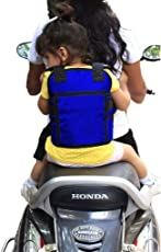 Kids Safety Two Wheeler SEAT Belt/Front Standing and Sitting Behind Safety Belt (Blue)